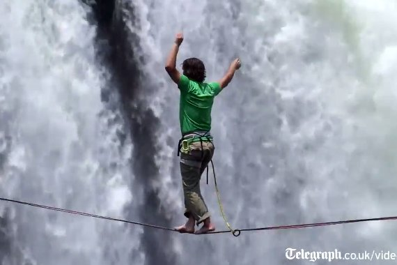 Slacklining Across the World's Largest Waterfall