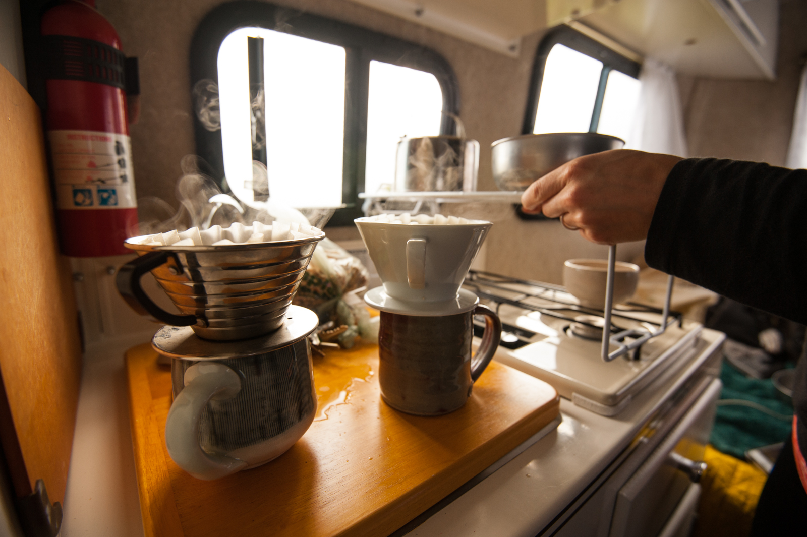 Coffee in the Scamp trailer