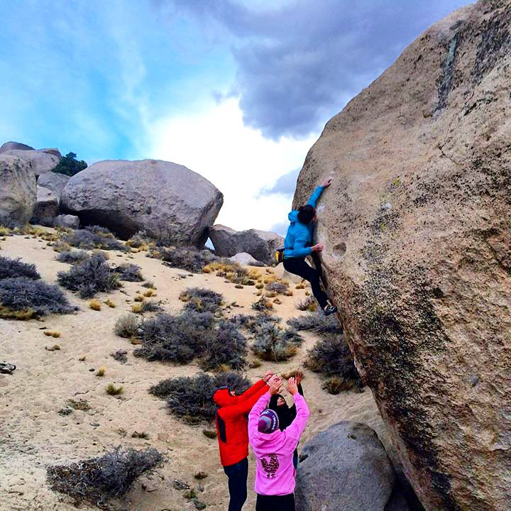 Georgie climbing in Bishop California