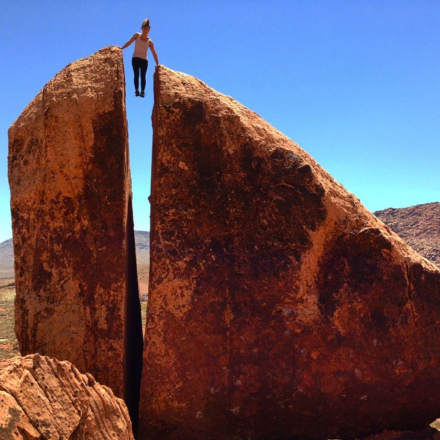 Georgie Abel climbing in Red Rock, Nevada